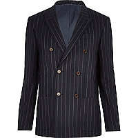 Navy pinstripe double breasted blazer