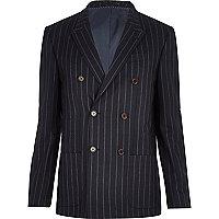 Navy pinstripe double breasted blazer