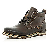 Dark brown waxy leather lace up boots