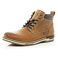 Light brown waxy leather lace up boots