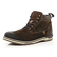 Brown burnished suede lace up boots