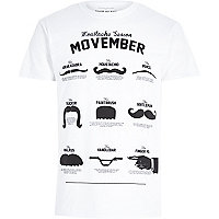 White moustache print crew neck t-shirt