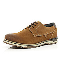 Brown suede chunky sole lace up shoes