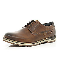 Brown leather chunky sole lace up shoes