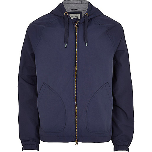 Navy blue hooded bomber jacket