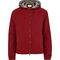 Bright red hooded bomber jacket