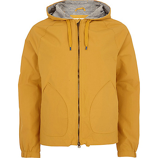Yellow hooded bomber jacket