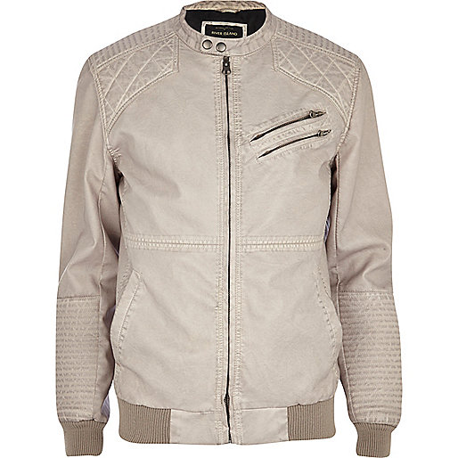 Ecru quilted panel collarless biker jacket