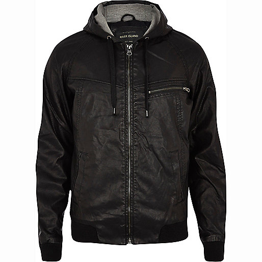 Black perforated yoke leather-look jacket