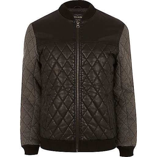 Black quilted jersey sleeve bomber jacket