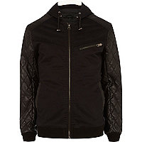 Black quilted sleeve hooded bomber jacket