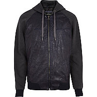 Navy jersey sleeve leather-look jacket