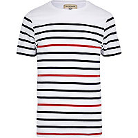 Navy contrast stripe crew neck t-shirt