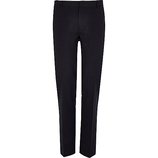 Black textured slim smart trousers
