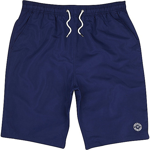 Navy long swim shorts