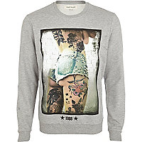 Grey marl tattoo girl print sweatshirt