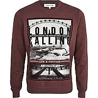 Red London calling print sweatshirt