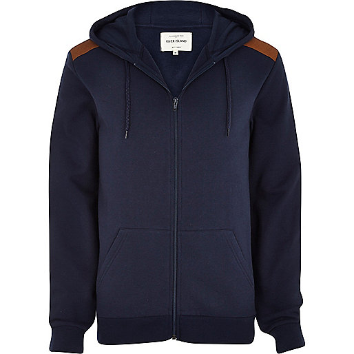 Navy quilted shoulder patch hoodie