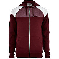 Dark red colour block yoke hoodie