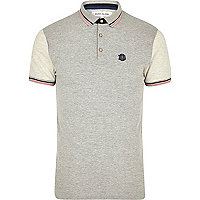 Grey tipped collar contrast sleeve polo shirt