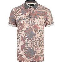 Ecru floral print polo shirt