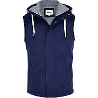 Blue casual hooded padded gilet