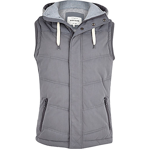 Grey casual padded gilet