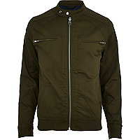 Khaki green casual bomber jacket