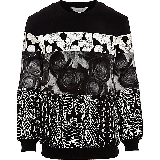 Black Systvm floral snake print sweatshirt