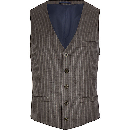 Brown stripe single breasted waistcoat