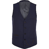 Navy herringbone pocket chain waistcoat