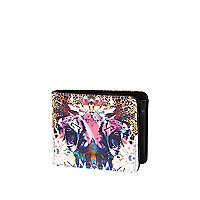 Multicoloured abstract tiger print wallet
