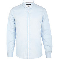 Light blue contrast trim shirt