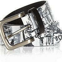 Black New York print belt