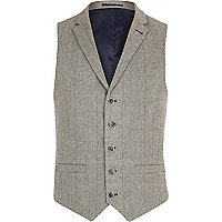 Light grey smart check waistcoat