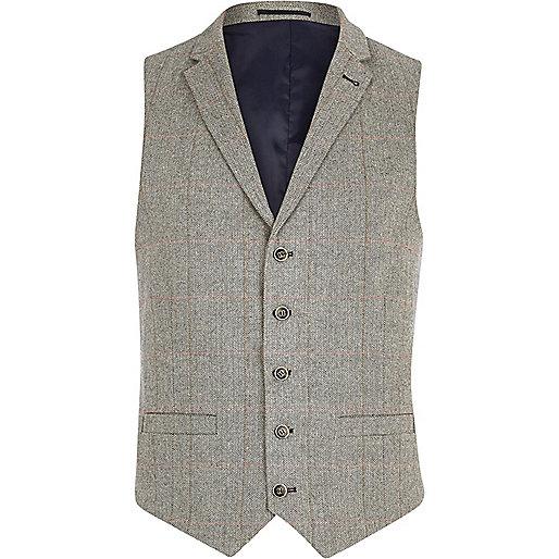 Light grey smart check waistcoat