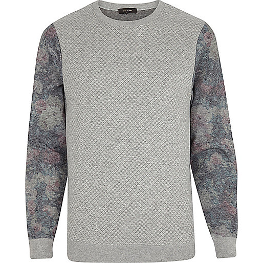 Grey quilted floral sleeve sweatshirt