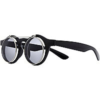 Black flip down retro round sunglasses