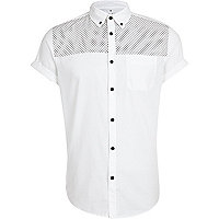 White polka dot yoke Oxford shirt