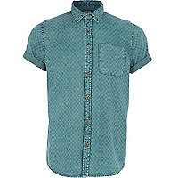 Green X print denim shirt