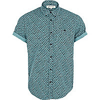 Green fan print short sleeve shirt