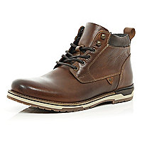 Brown waxy leather boots