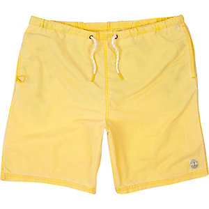 Yellow mid length swim shorts