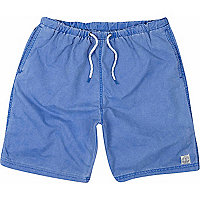 Blue mid length swim shorts