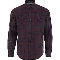 Purple check contrast sleeve shirt