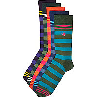Multicoloured stripe animal motif socks pack