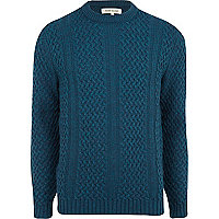 Teal cable knit crew neck jumper