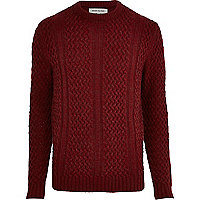 Dark red cable knit crew neck jumper