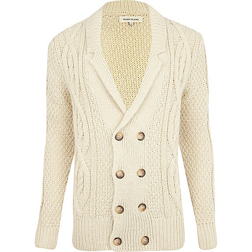 Ecru double breasted cable knit cardigan