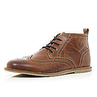 Brown lace up brogue boots
